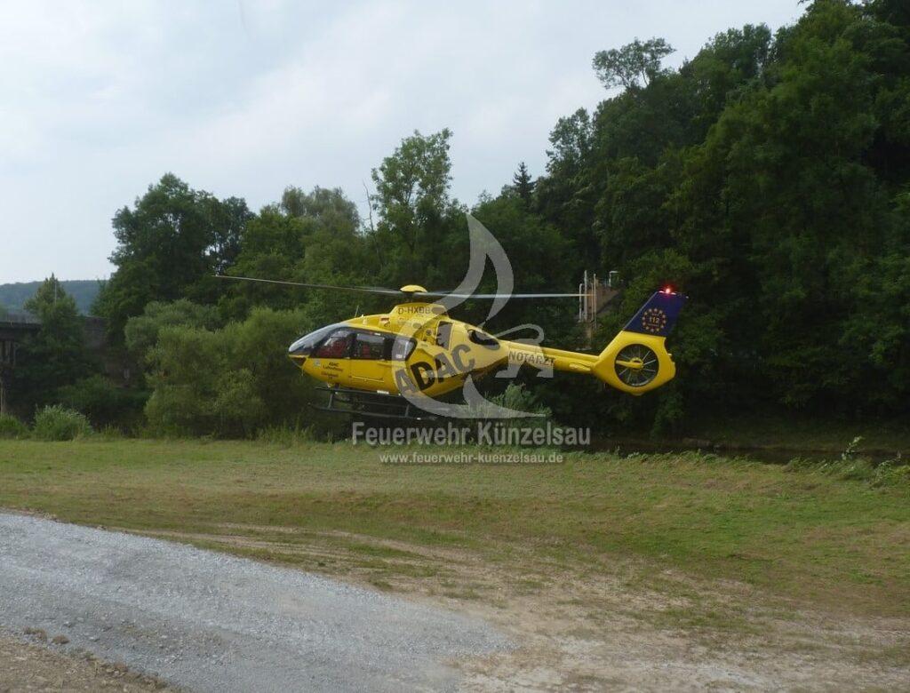 Rettungshubschrauber bei der Landung